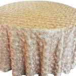 Rosette satin tablecloths rentals Champange