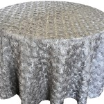 Rosette satin tablecloths rentals - SIlver