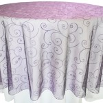 Embroidered Organza Tablecloth rentals Eggplant