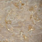 Flower sequined organza tablecloths rentals - Gold