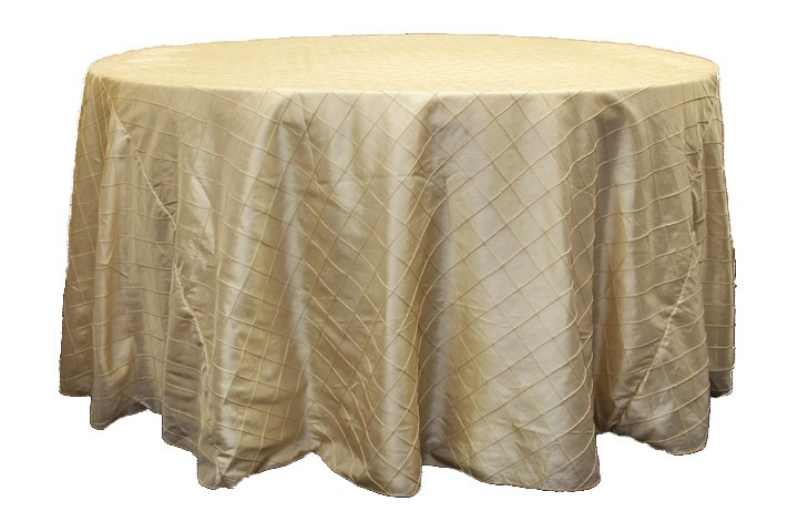 Pintuck tablecloths rentals-champagne