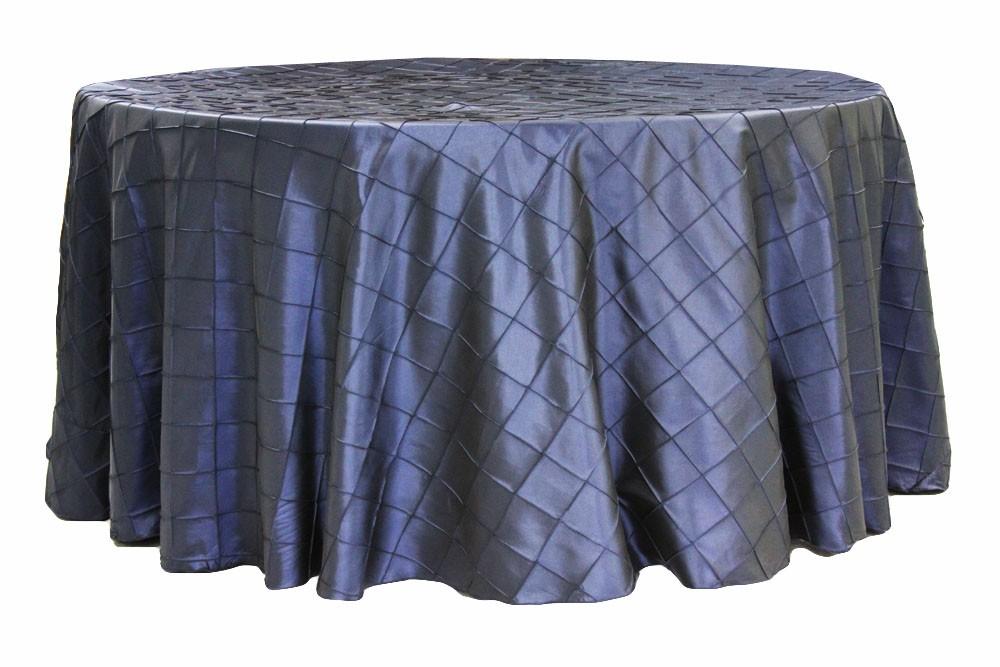 Pintuck tablecloths rentals-Navy Blue