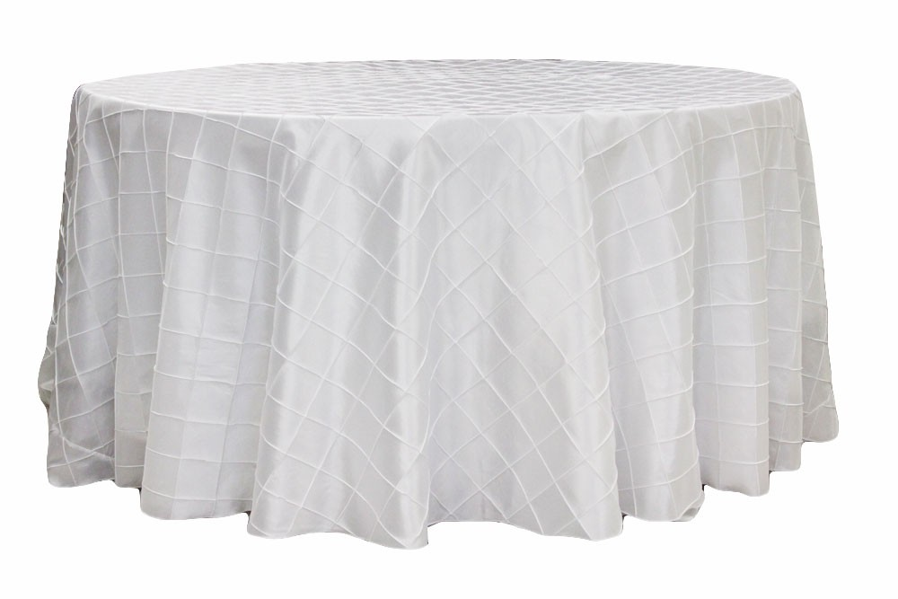 Pintuck tablecloths rentals- White
