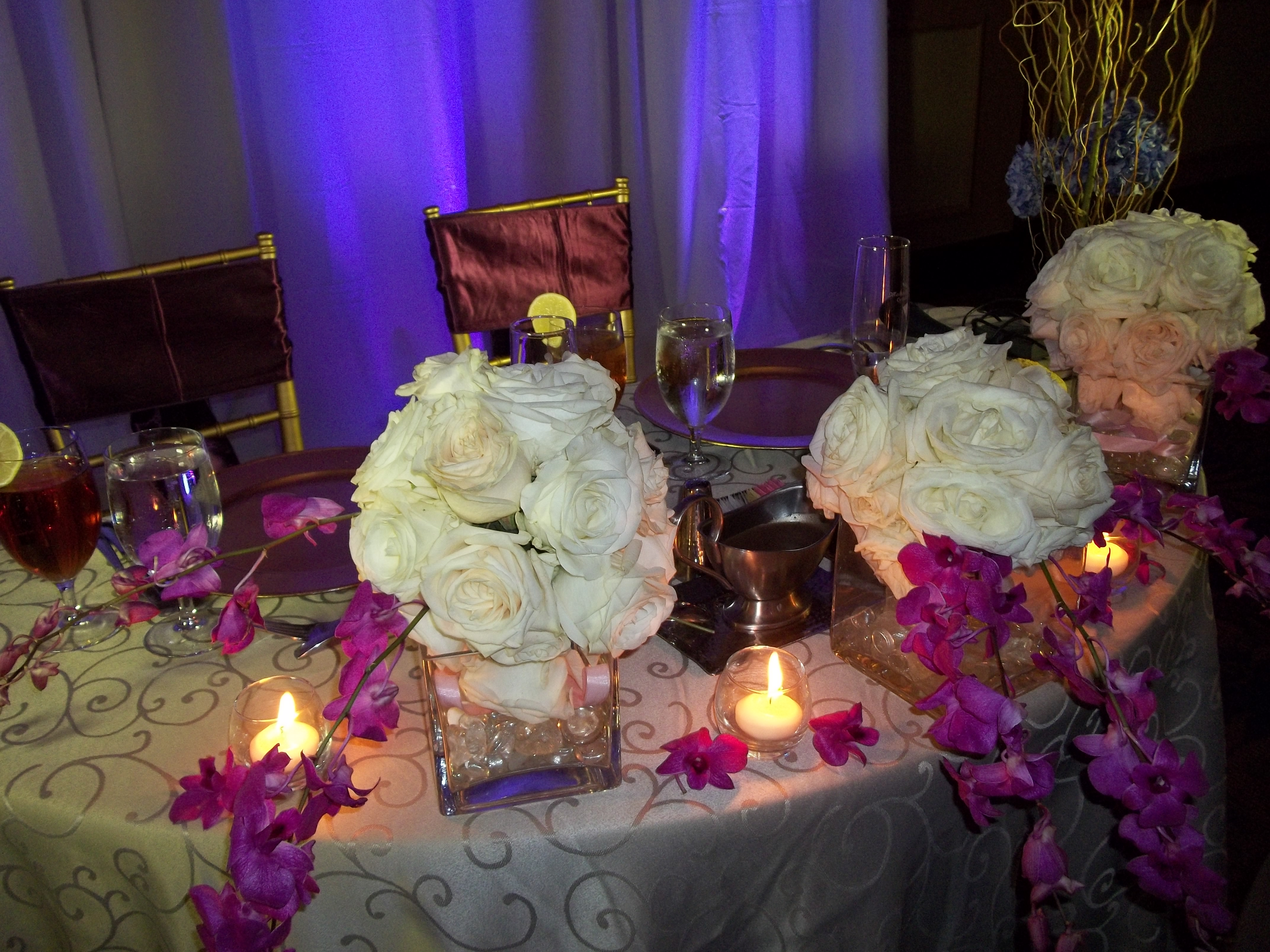 white roses Pomander Balls with orchids