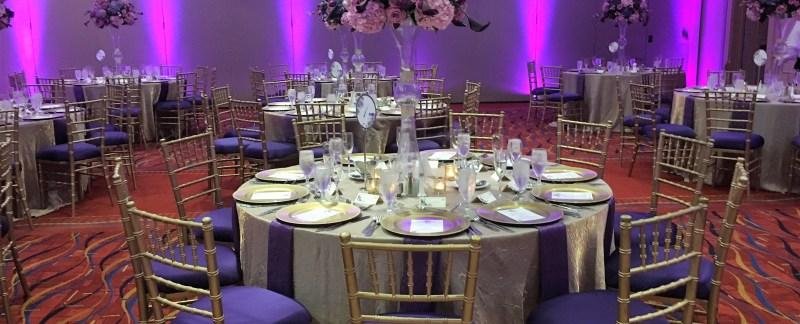 Crush Iridescent tablecloths rental purple
