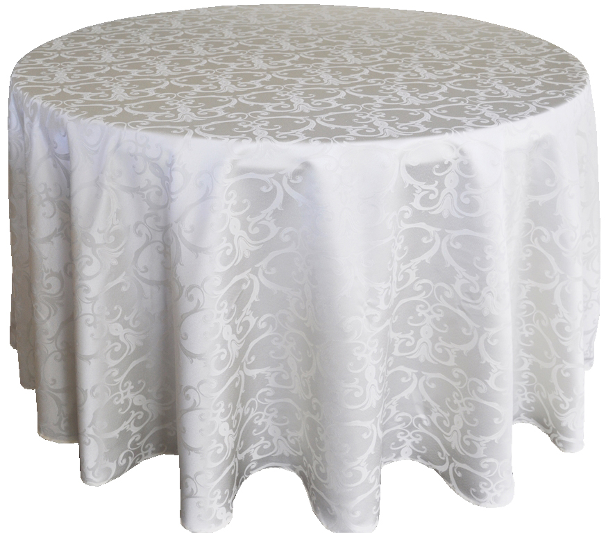 Versailles Jacquard Damask Tablecloth Rentals Ivory
