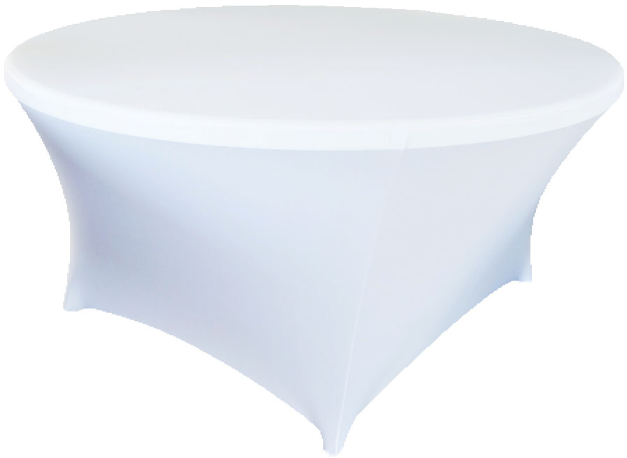 Spandex tablecloths rentals - white