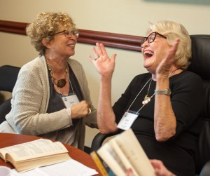 Sara Cohen (left) and Ann Ottaviano enjoyed a light moment during the discussion.
