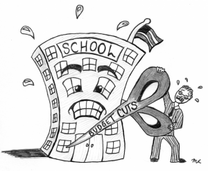 man holding scissors attempting to cut an anthropomorphic school building in half.