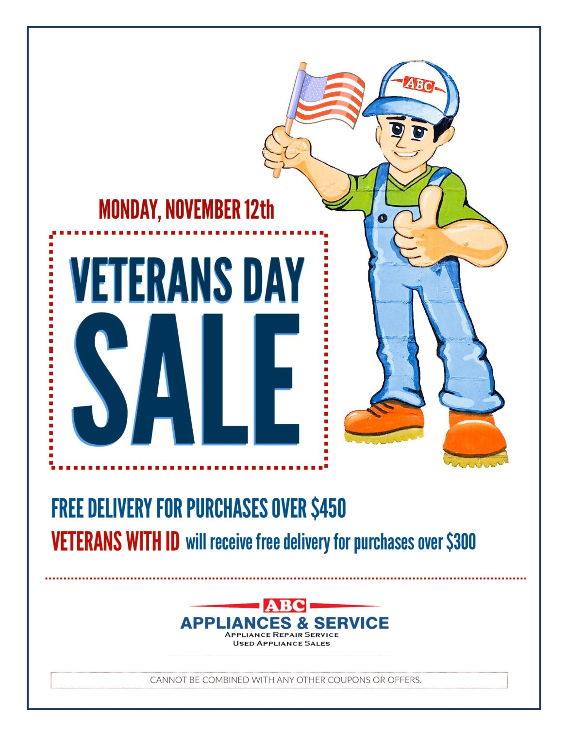 Veterans Day Sale Monday November 12th