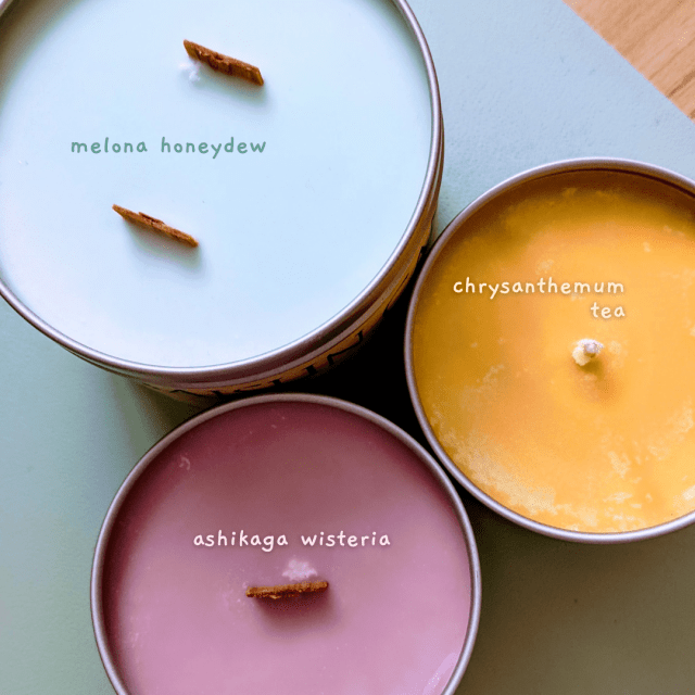 Baisun Candle Co.'s Melona Honeydew, Ashikaga Wisteria, & Chrysanthemum Tea Scented Candles