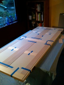 Balsa sheets laid out in place with painters' tape.