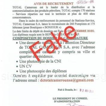Non aucun recrutement de 260 pompistes n'est en cour à Total Cameroun en Décembre 2020
