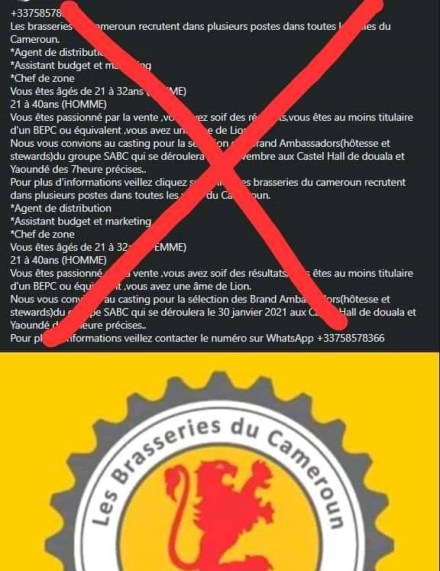 [FACTCHEKING]: Fausses offres d'emplois, le Groupe SABC appelle à la Vigilance des camerounais