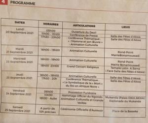 Programme des obsèques sa majesté Din Dicka Akwa 3