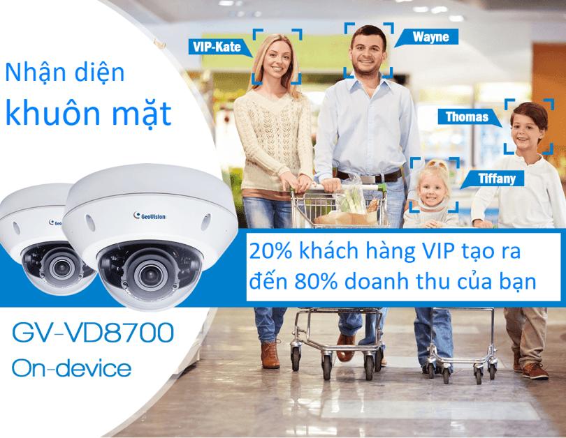 IP Camera Dome GEOVISION GV-VD8700 8MP 4K IR H.265 OUTDOOR – Nhận diện khuôn mặt