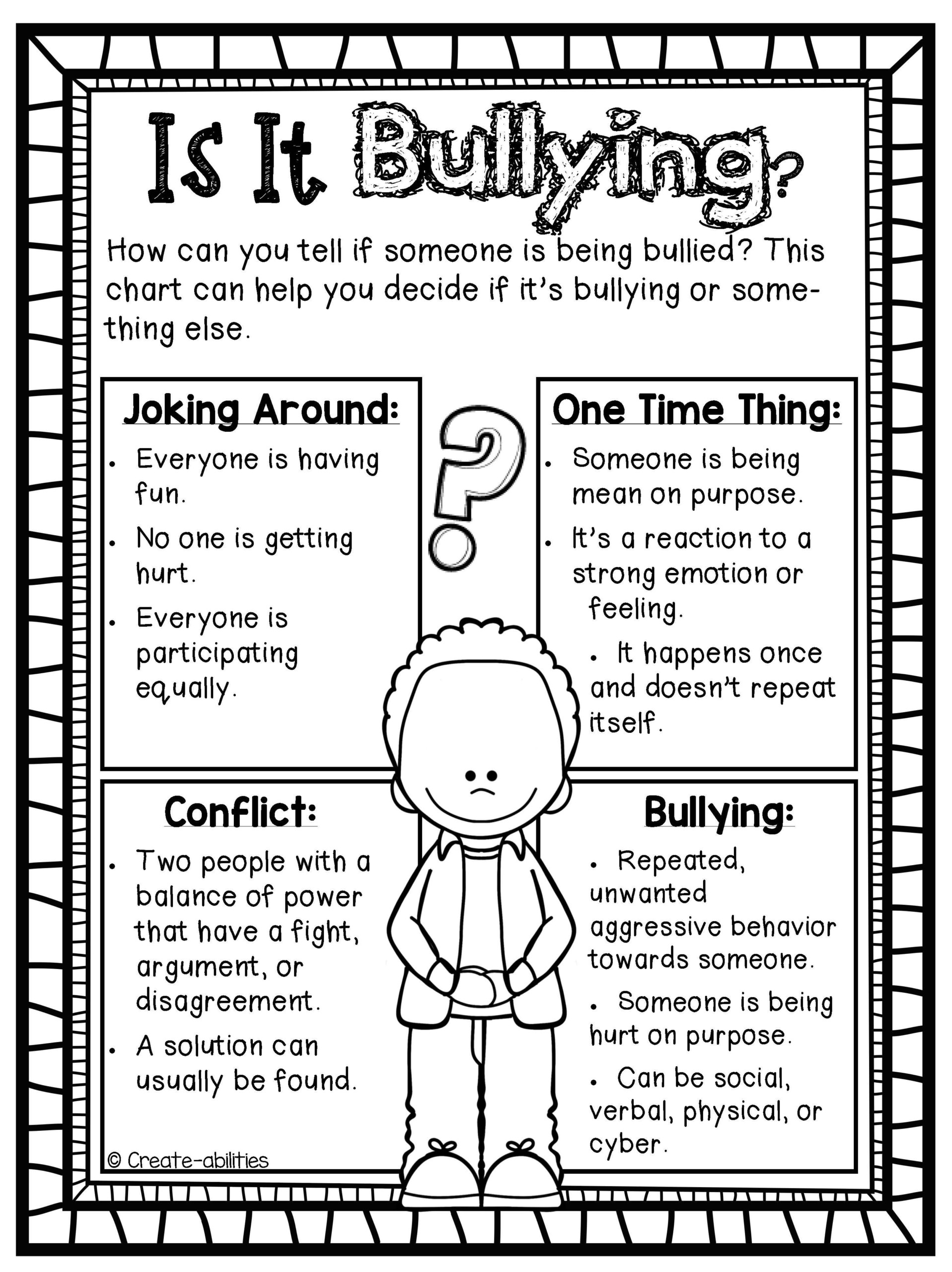 Free Bullying Worksheets For Middle School