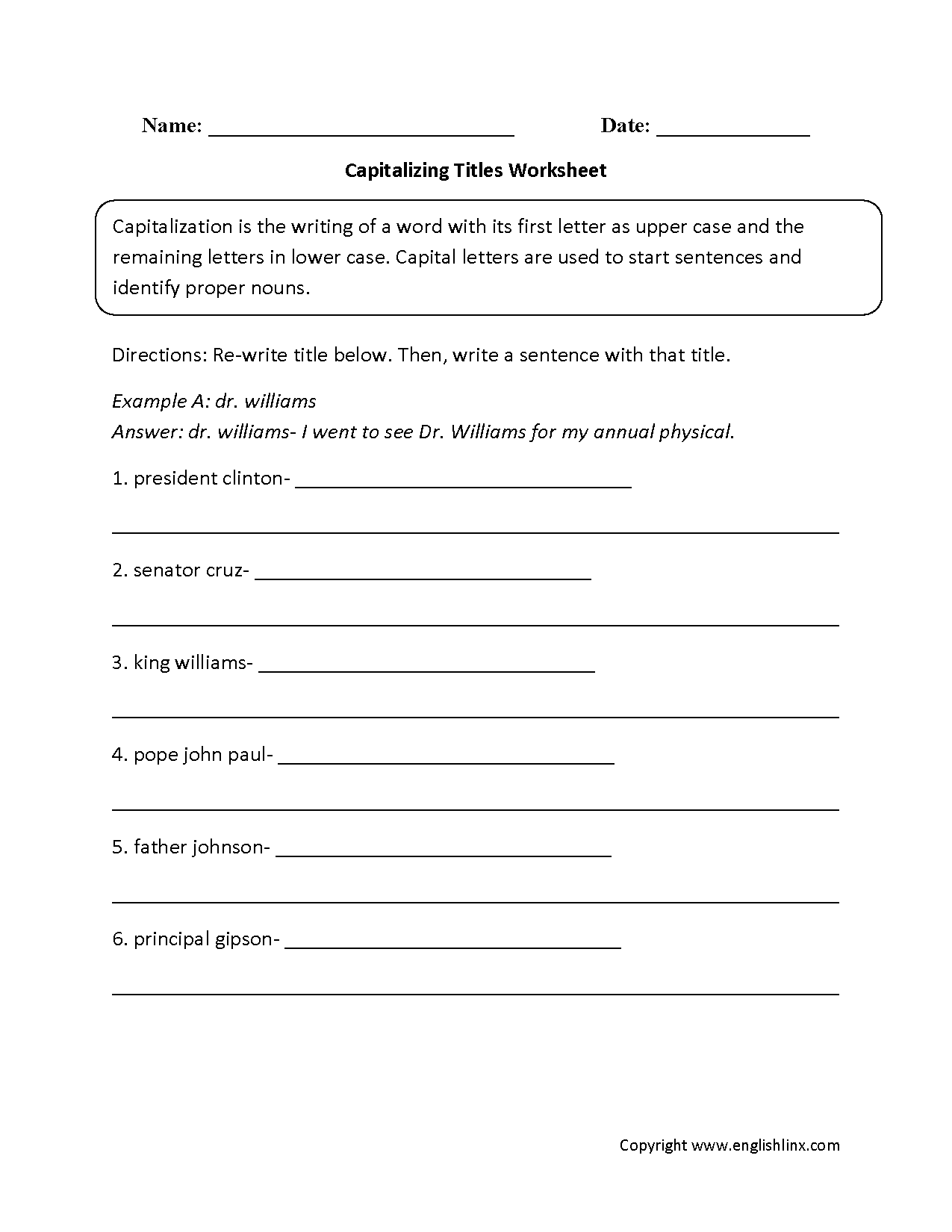 Capitalization Worksheets Middle School