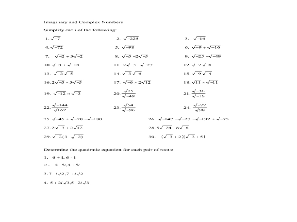 5 9 Complex Numbers Practice Worksheet Answers