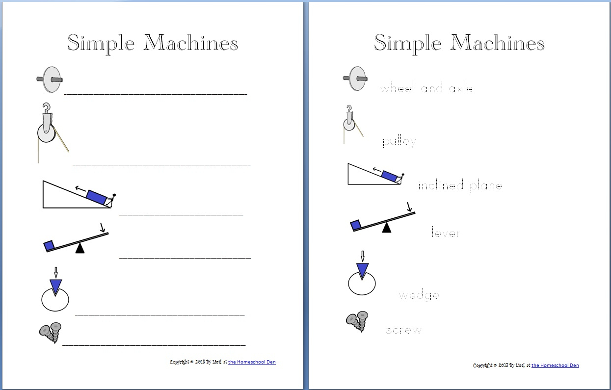 Pulleys Worksheet Middle School