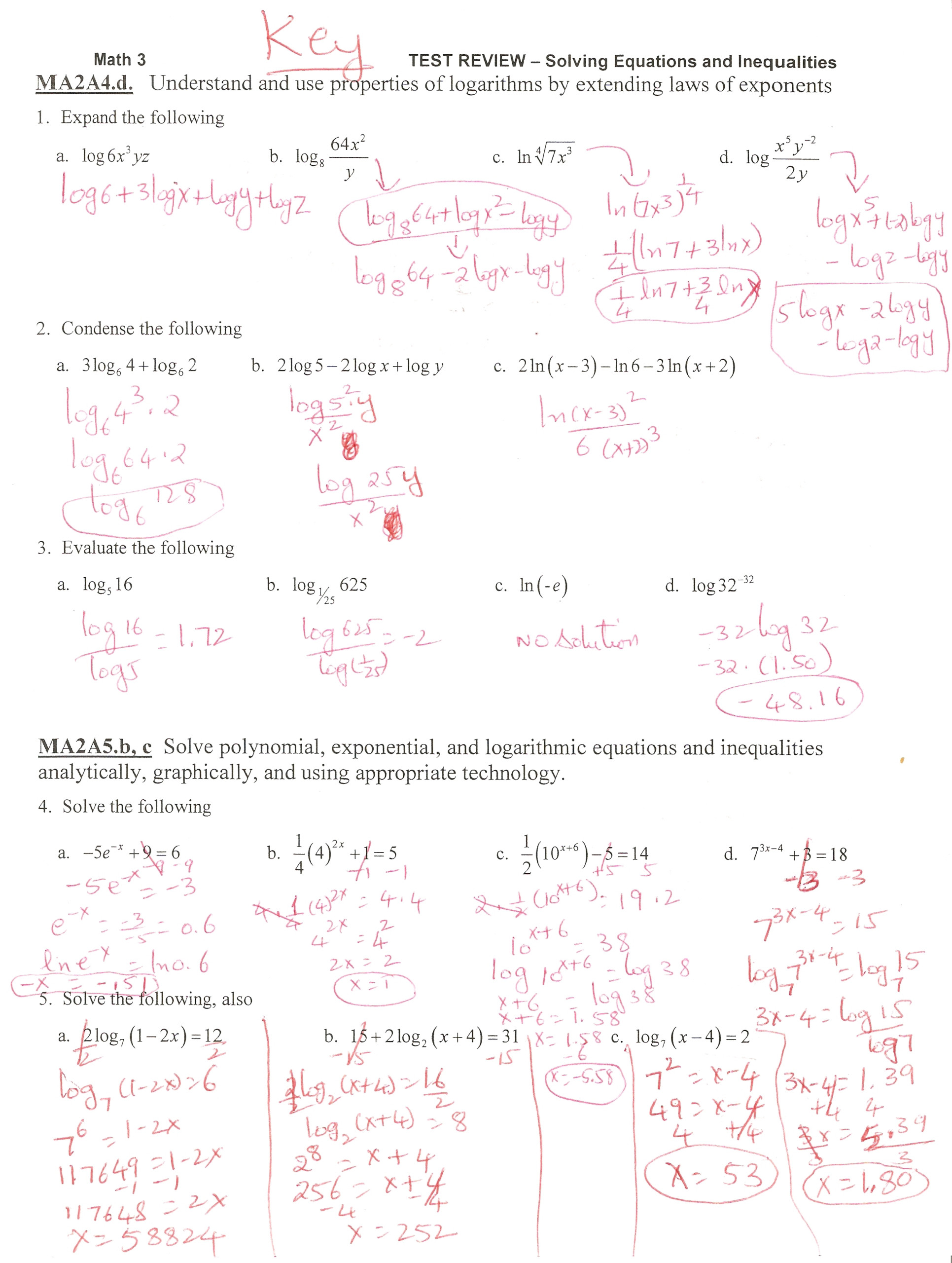 Glencoe Algebra 2 Properties Of Logarithms Worksheet