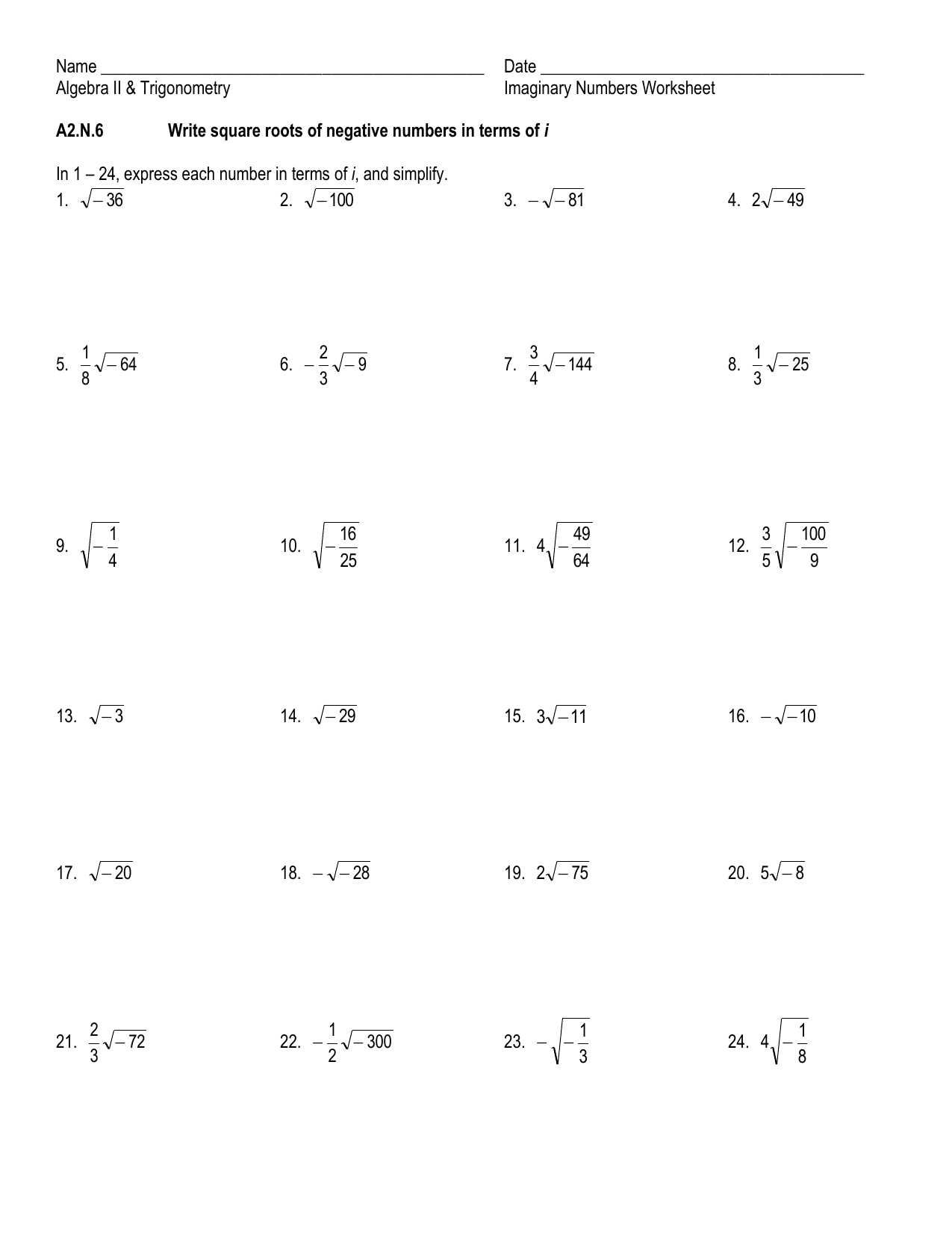 Algebra 2 Operations With Complex Numbers Worksheet
