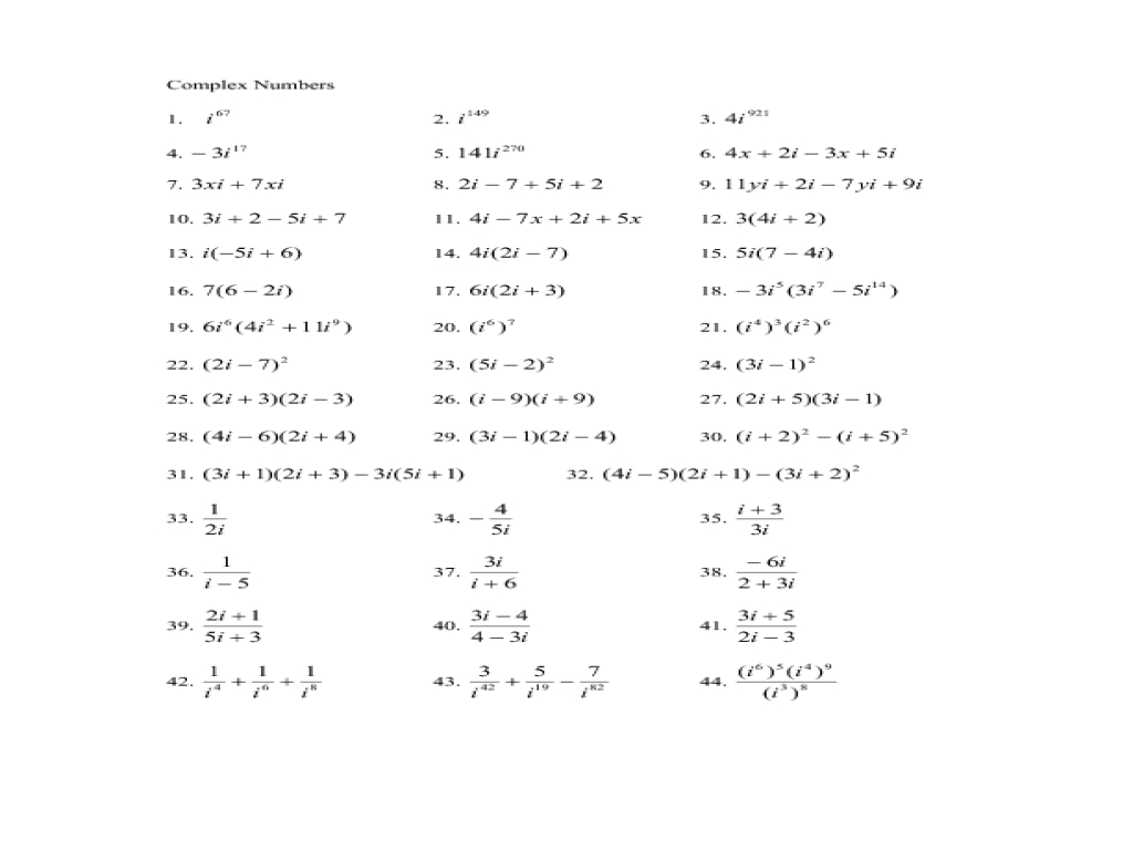 Adding And Subtracting Complex Numbers Worksheet Kuta