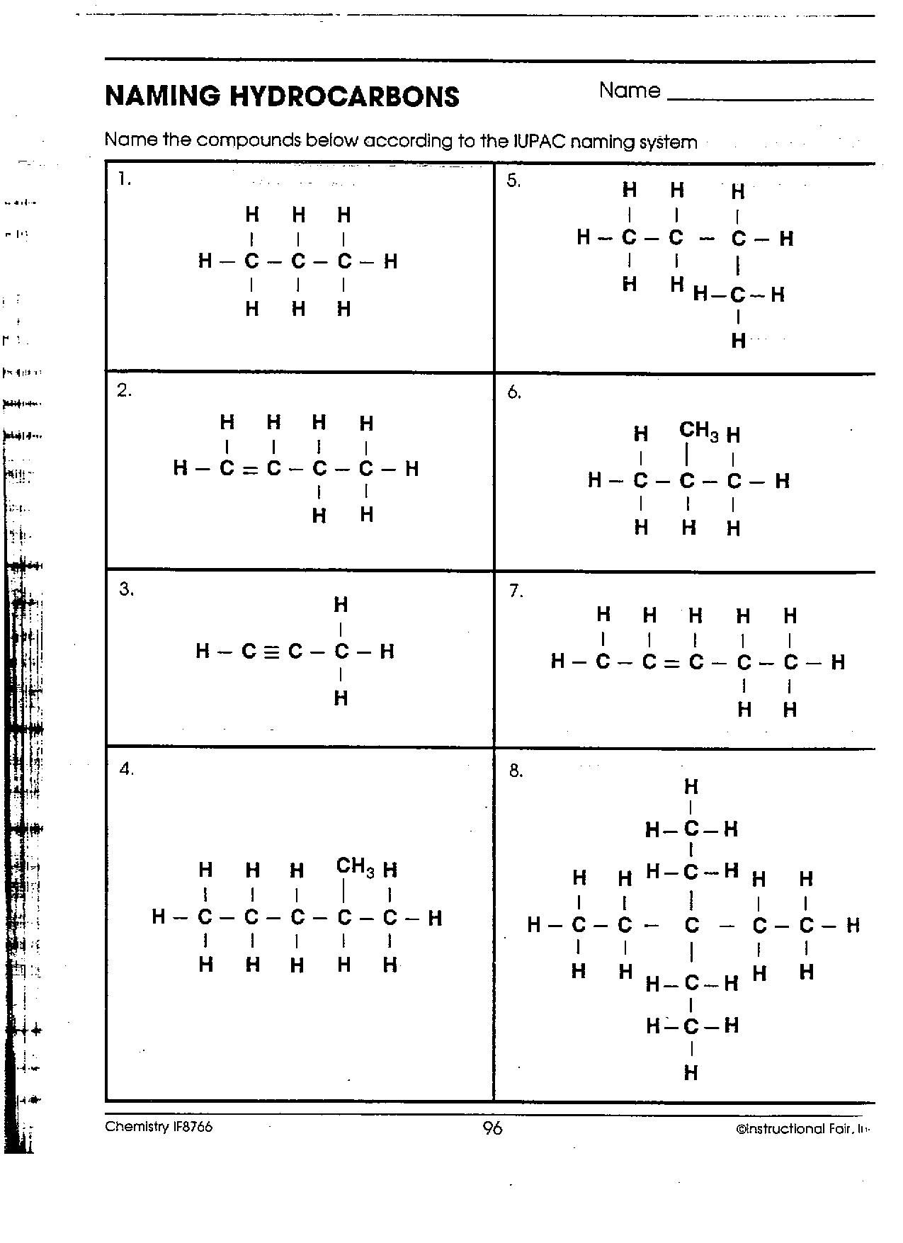 Naming Organic Compounds Worksheet High School