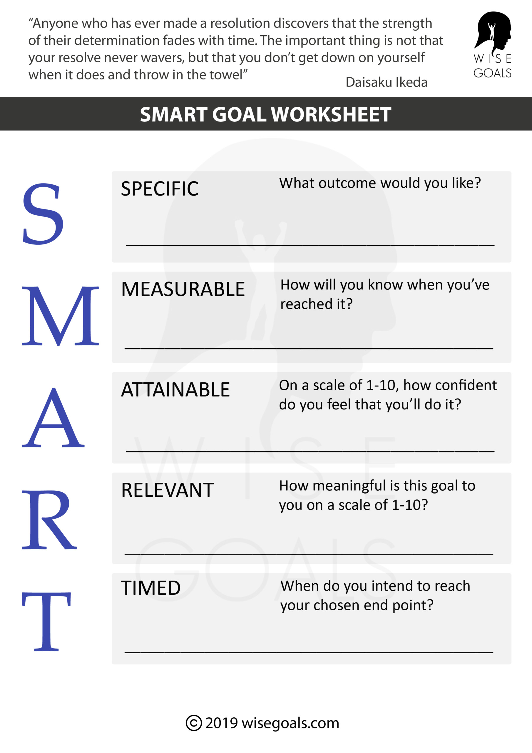 Smart Goals Worksheet High School