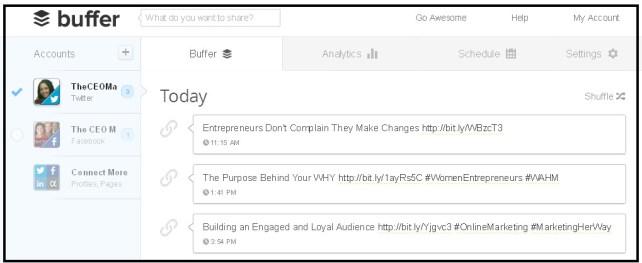 Buffer App dashboard