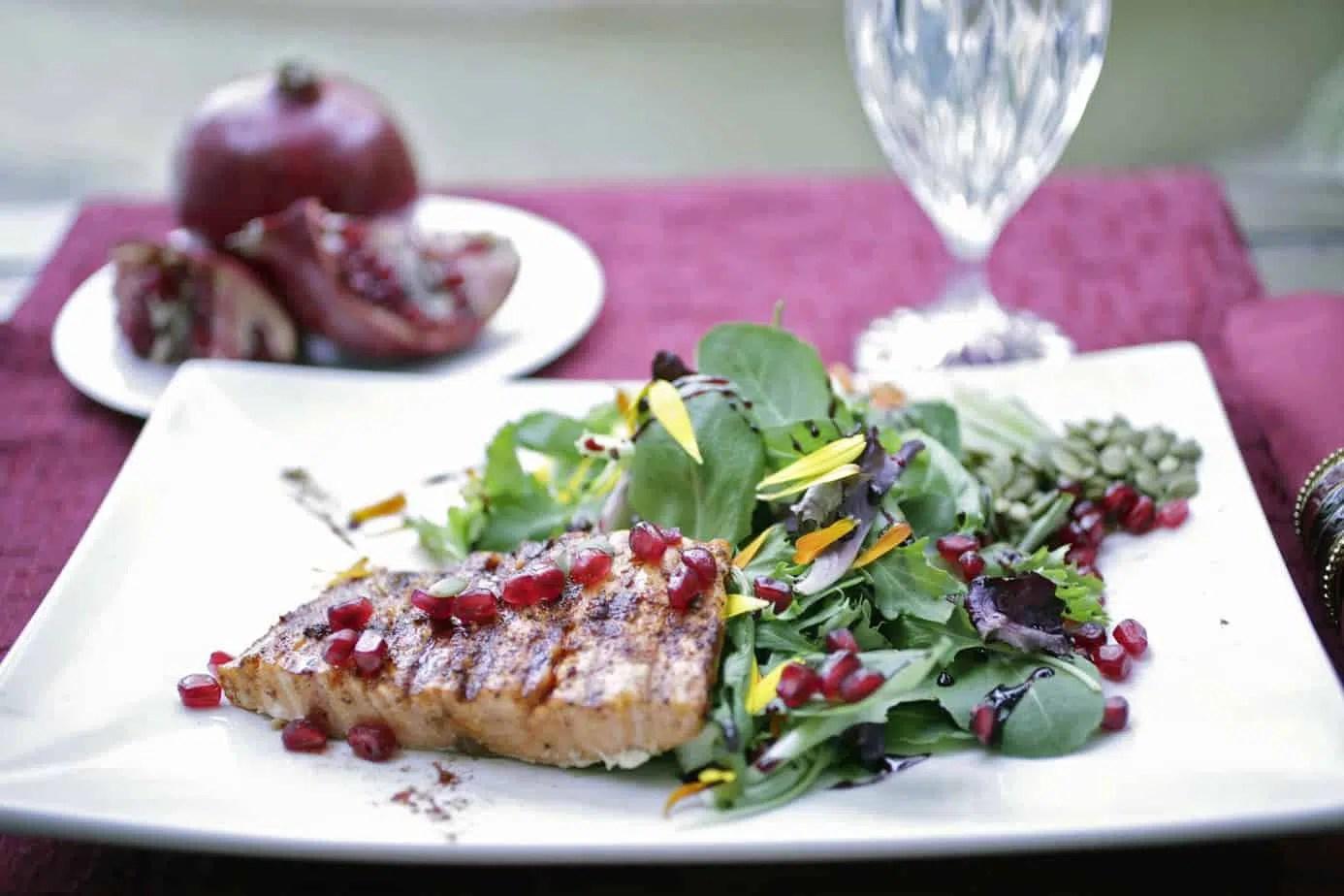 Pomegranate Pepita Salad With Salmon