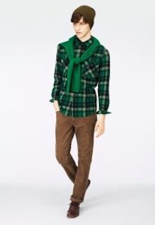シャツ×セーター×パンツ×ニット帽