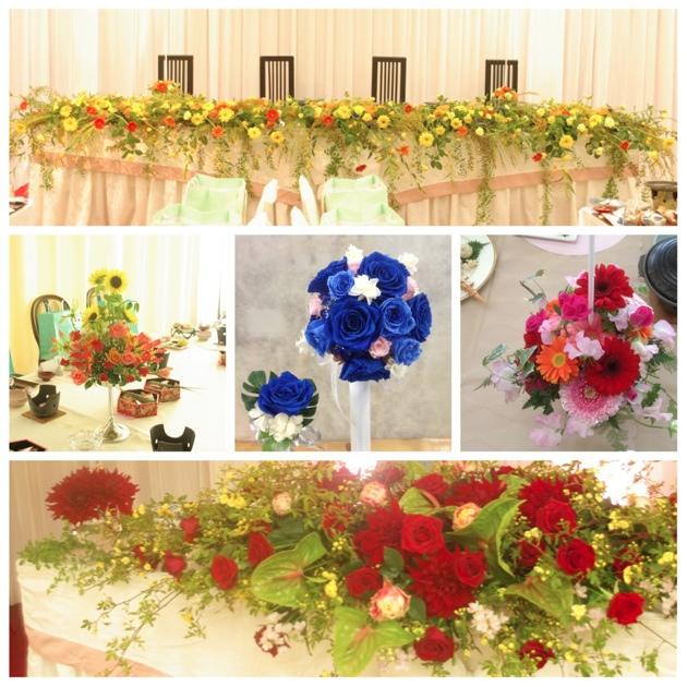 結婚式 ウェディング メインテーブル 卓上花 ウェディングブーケ 平戸市 海上ホテル