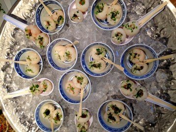 Lychees with mignonette sauce