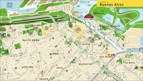 In questa cartina turistica l'area di Villa 31 anziche' essere grigia e' addirittura verde, suggerendo la presenza di un improbabile parco laddove si trovano invece i binari della stazione di Retiro e il treno.