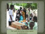 Girls purchasing sanitary napkins from Tana River Life Foundation