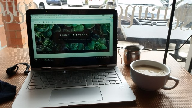 Blogging at a coffee shop near our airbnb in Houston, TX