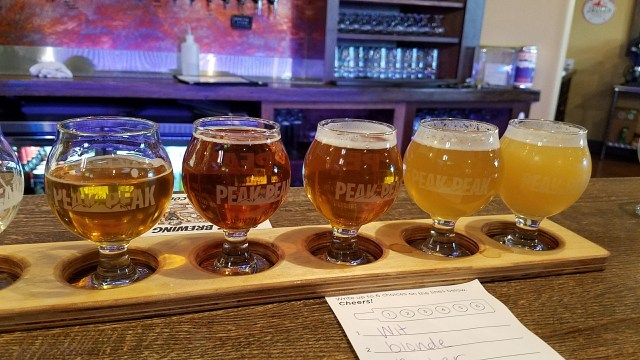 Colorado Beer Flight at Peak 2 Peak