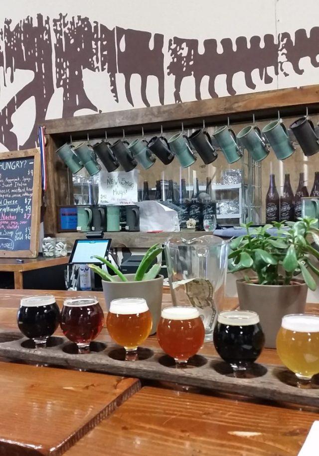 flight of beer at Historic Brewing