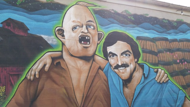 Tom and Sloth mural at craft brewery Burial Beer Co