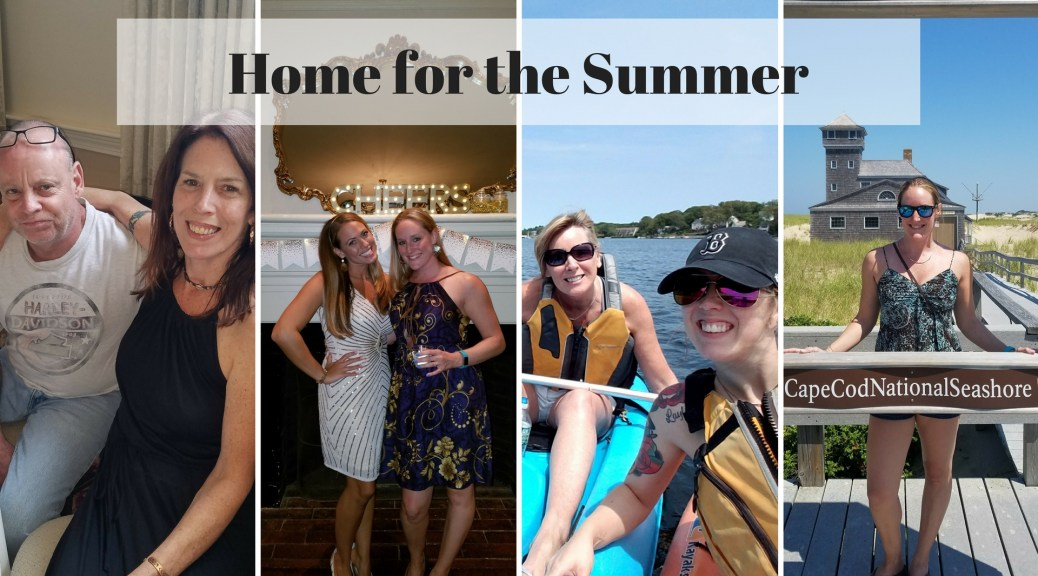 Blog banner for home for the summer with various family and friend photos