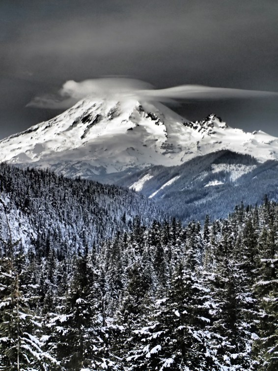 An amazing view of Mt Rainier from our snowshoeing hike at White Pass.