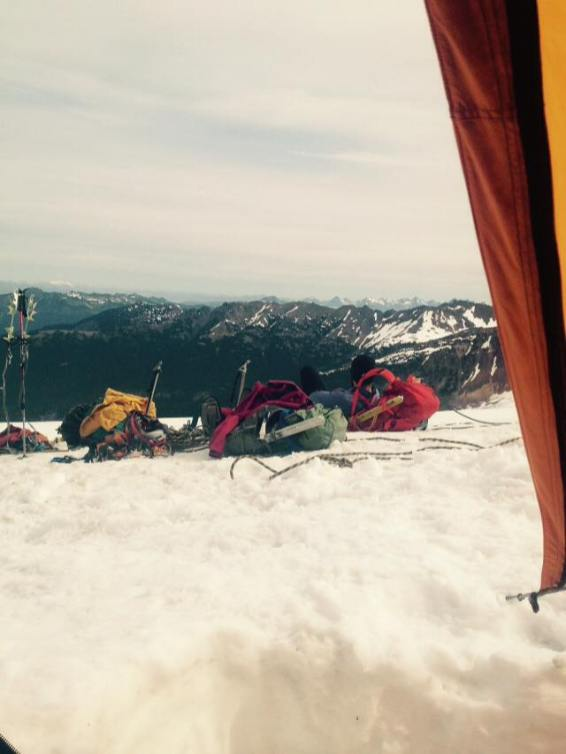 Relaxing back at camp after summiting.
