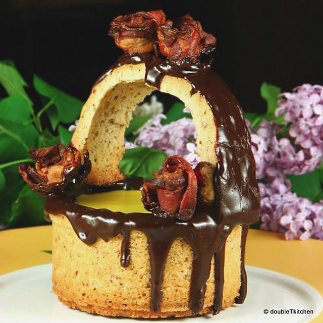 :: Maple mousse in nut baskets with bacon rosebuds ::
