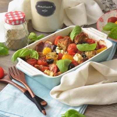Pečene cherry rajčice s kozjim sirom i pršutom