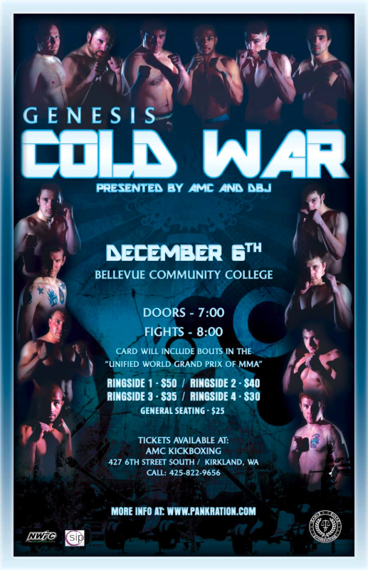Genesis FIGHTS: Cold War took place on December 6th, 2008, at the Bellevue Community College just outside Seattle, WA.
