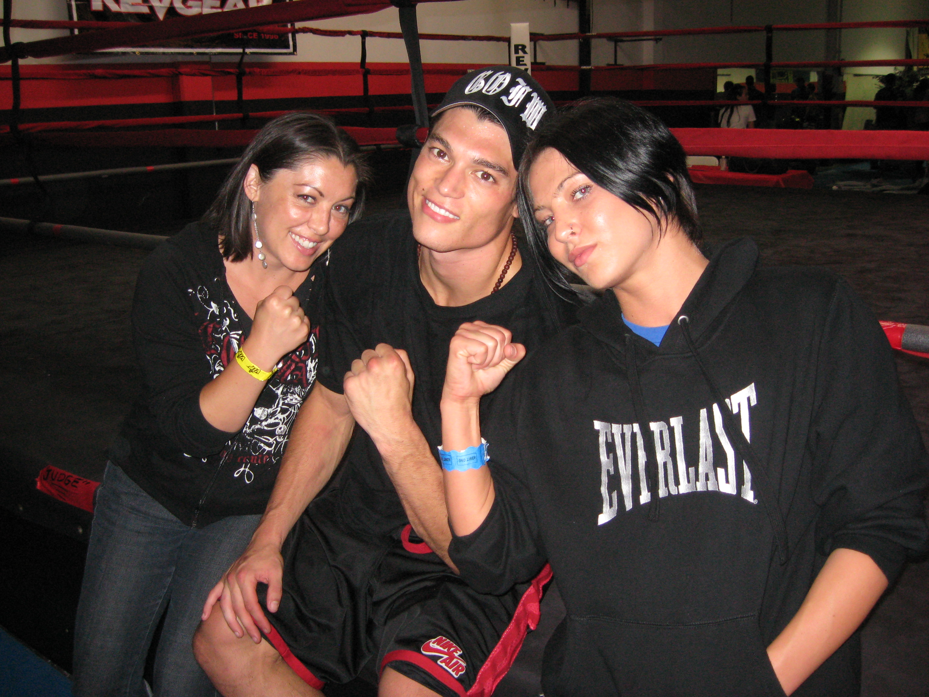 Alan Jouban (center), with Dawna Gonzales (left) and Beki Fouquet (right), after his third round TKO win.