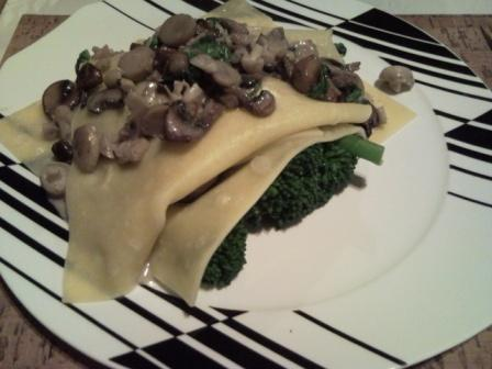 Deconstructed Lasagne With Exotic Mushrooms and Broccoli For The Oyster Mushrooms Challenge