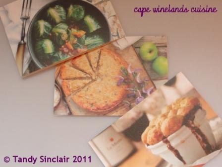 cape winelands cuisine recipe cards November 2011