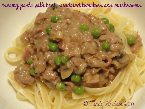 Creamy Pasta With Beef, Sundried Tomatoes And Mushrooms